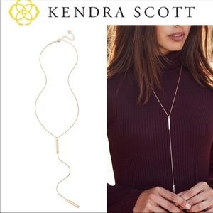 NWT Kendra Scott Shelton Y Necklace In Gold